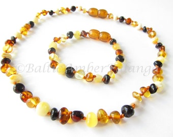 Set Of Baltic Amber Baby Teething Necklace and Bracelet/Anklet Multicolor Beads