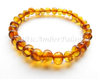 Baltic Amber Bracelet Cognac Color Rounded Beads