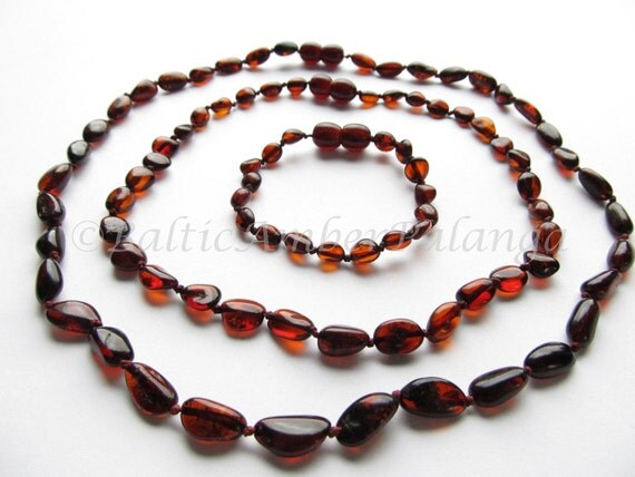 Set Of Dark Cherry Baltic Amber Baby Teething Necklace and Bracelet/Anklet and Mothers Reminding Necklace