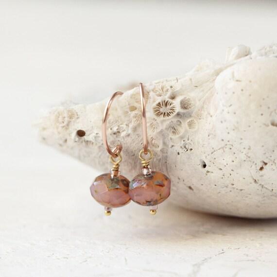 Rose Gold Earrings - Minimalist Earrings For Women - Rose Pink Earrings - Simple Earrings - Drop Earrings