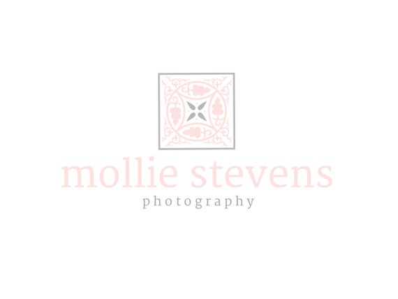 Custom Logo Design Premade Logo for Photographers and Small Crafty Boutiques Pink and Charcoal Swirly Symbol Shabby Chic