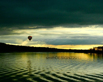 Hot Air Balloon Photography, Landscape Photography, Lake Reflections, Sunset Photography, Home Decor, Photo Art,by Abby Smith