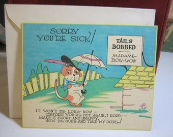 Colorful unused art deco 1920's-30's get well card with a humorous  bulldog theme and sign that reads tails bobbed madame bow-wow