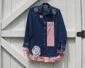 Boho jacket, Rustic denim western, M, denim tunic, long denim shirt, vintage denim, chic western denim, denim M, shabby chic clothing