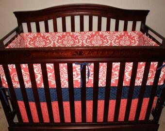 Coral Damask, Navy, and Coral Ruffle Crib Bedding Ensemble