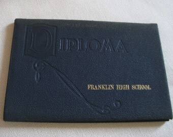 Vintage 1950 Franklin High School Diploma