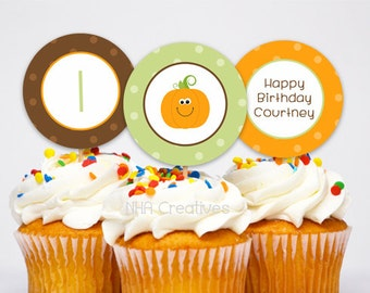 Personalized Pumpkin Birthday Cupcake Toppers - DIY Printable Digital File
