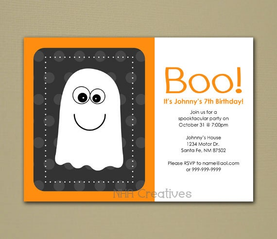 Items similar to Halloween Ghost Themed Birthday Party Invitation - Personalized DIY Printable ...