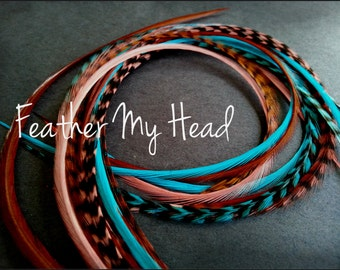 "16 Feather Hair Extensions Long 9""-12"" (22.86-30.48cm) Turquoise Brown Coral - No Beads - Premium Whiting Sante Fe Mix"