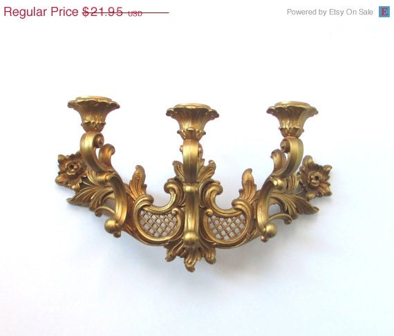 CLEARANCE Vintage Wall Candle Sconce - Hollywood Regency Decor