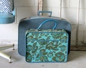 30% Sale - Vintage Small Blue Floral Carry-on Suitcase - Travel Luggage - Turquoise - Boho - Avon Case