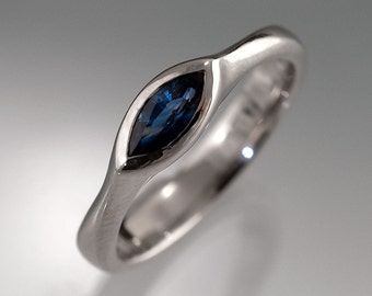 Marquise Blue Sapphire Engagement Ring in Silver, Palladium, Yellow Gold or White Gold, Unique Bezel Sapphire Ring, Diamond Alternative