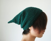 Made To Order Crochet Pixie Hat in Emerald Green for Women and Men,St. Patrick's Day Elf Hat,Gnome Hat,Slouchy Pointy Hat,Winter Accessories