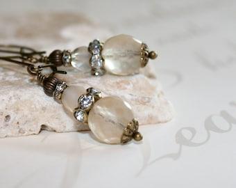 Champagne earrings, Champagne Czech glass earrings, Ivory Czech glass earrings, Boho chic jewelry