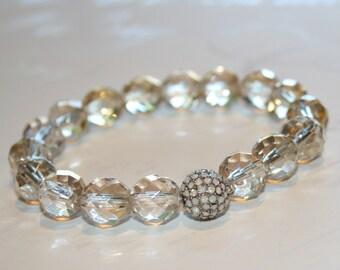 Stretch pave bracelet, Champagne glass bracelet, Fire polished czech glass bracelet, Stacking bracelet