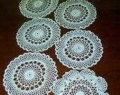Seven Vintage Crocheted Doilies, Round and White, 11 Inches