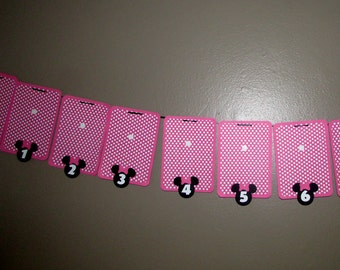 Minnie Mouse Photo Banner nb-12 mo photo holder Pink and white polka dot MInnie Party