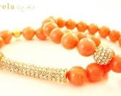50% off- Peach pink bracelets. Shiny bracelets. Bling bracelets. Pastel bracelets. Spring bracelets. Acuarela Bracelets.
