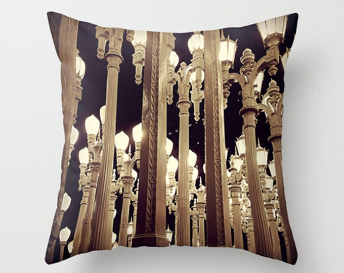 LACMA Urban Light Sofa Pillow, Lamp Post Accent Pillow, Night Photography Throw Pillow Cover, 18x18 22x22 Decorative Pillow Cushion