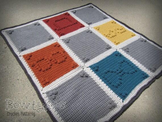 Schnurrbart Silhouette Decke häkeln Muster sofort-Download