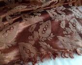 "Bronze Satin Brocade Heavyweight Fabric Material  84"" Wide, 3 Yards Hand Woven"