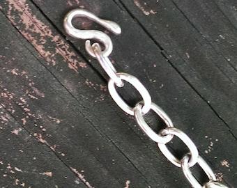 Hand made fine silver links bracelet