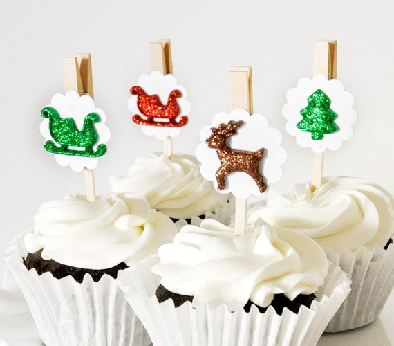 Christmas Party Cupcake Toppers Decoration Reusable Set of 12 Santa's Sleigh, Reindeer, Trees. Party Favors Clips Dessert Table Settings