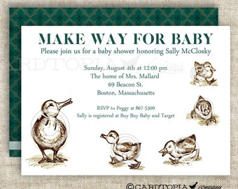 Make Way For Ducklings BABY SHOWER Invitations Bring A Book or Library Baby Shower Digital diy Printable Personalized - 103043140
