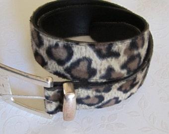 SALE Wide Belt  Animal Print Fuzzy Belt Leopard Print 80s  Absolutely Fresh by Prestige