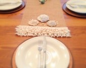Burlap Table Runner Farmhouse Ruffled Table Runner Rustic Table Cover Farm Wedding Decor Cottage Chic Table Runner MADE TO ORDER