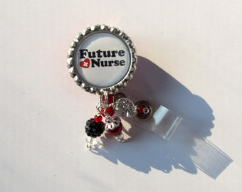 Future Nurse Retractable Badge Reel - Designer Badge Reels - Beaded ID Holders - Badge Reel Gifts - Fun Badge Clips - Cute ID Reels
