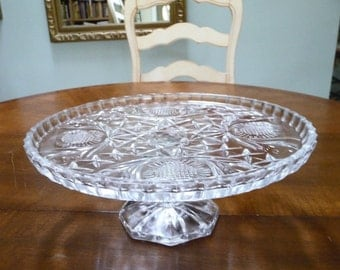 EAPG Pressed Glass Footed Cake Plate Stand on Etsy