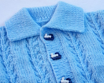 Cardigan for baby in blue with train buttons, fit chest up to 24 inch.
