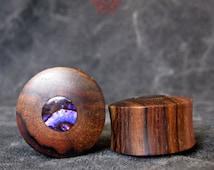 "1"" Wood Plugs with Purple Paua Abalone Shell Inlay, Ear Plugs, Ear Gauges,  Paua Abalone Inlay, 1 inch Plugs, Purple Paua Pierced Eye Design"