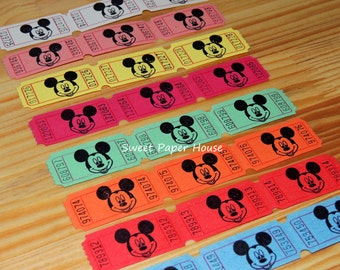 60 Mickey Mouse Carnival Tickets (Disney, Circus, Raffle, VIP, Hand Stamped, Mickey, Cartoons, Old, Disney Cruise, Disney Wedding, Baby)