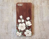 Hand painted white floral on faux wood iPhone 5 or 5s case