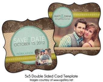 """FLORAL DATE - 5x5"""" Double Sided Save The Date Card Template, Digital File"""