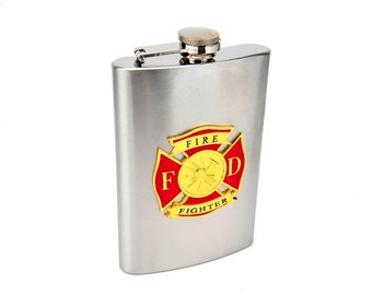 Custom Engraved 8oz Colored Firefighter Flask