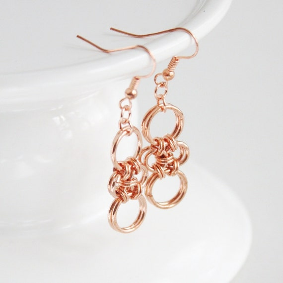 Copper Chain Maille Earrings, Raw Copper Dangles, Hand Woven Chain Earrings, Copper Cross Dangles, Copper Jewelry