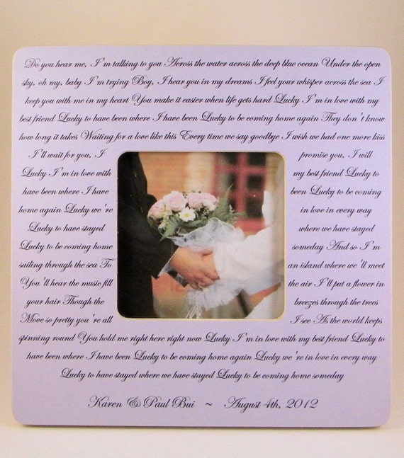 Items Similar To Wedding Song Lyrics Vows Poem Picture Frame Names Date On Etsy