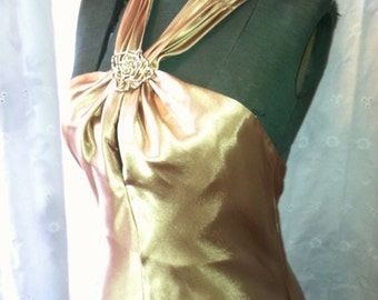 Gatsby inspired prom dress gold satin