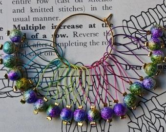 20 Knitting stitch markers rainbow sparkles