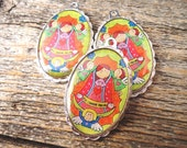 Reserved for MONICA  Virgencita Plis Cuidame Set of 3 Color Charms- First Communion, Baptism, Confirmation, Christmas Gift