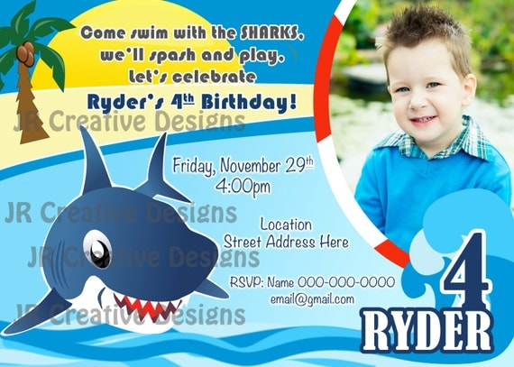 Shark Invite Shark Invitation Shark Party Shark Invite Birthday – Shark Invitations Birthday Party