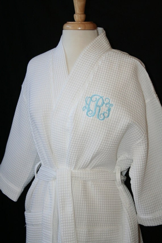 rush ship included  personalized waffle weave spa or bath robe