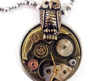 "Owl Clockworks Steampunk Necklace, 18"""