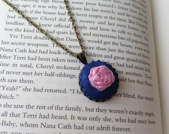 Pink and Blue Embroidered Rose Pendant Necklace - Silk Ribbon Embroidery by BeanTown Embroidery