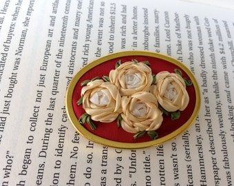 Red and White Embroidered Silk Flower Brooch - Silk RIbbon Embroidery by BeanTown Embroidery