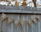 Custom Name Banner, Personalized Burlap Banner, Bunting, Garland, Nursery Decor, Room Decor