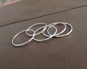 Stack Ring Set TINY STERLING Simple Textured/ Wear Together or Separately